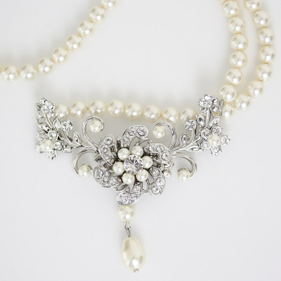 Wedding Necklace Ivory Pearl Bridal Necklace  Vintage style Wedding Jewelry Crystal Flower Necklace Swarovski Pearl Jewelry  SABINE CLASSIC