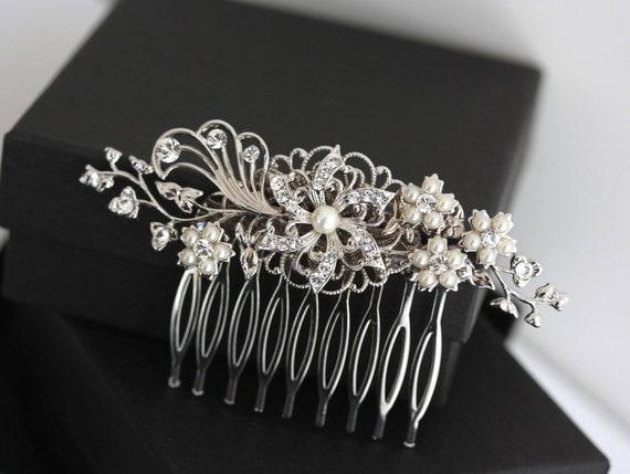 Bridal Hair Comb Swarovski Crystal Flower Hair Clip White Ivory Pearl Vintage Wedding Hair accessories, EMILY