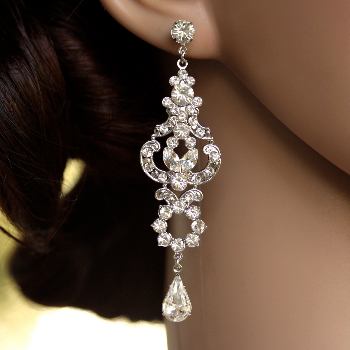 Rhinestone chandelier earrings long bridal earrings art deco zoom arubaitofo Gallery