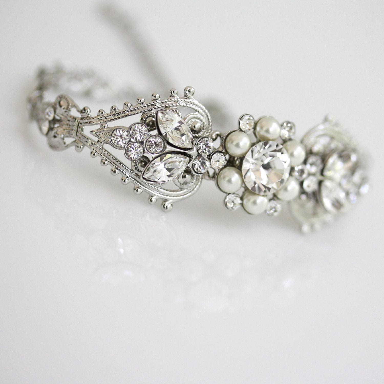 Bridal Crystal Cuff Bracelet Rhinestone Pearl Bridal Wedding