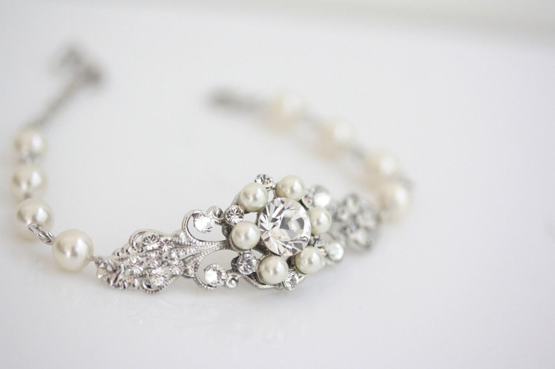Wedding jewelry rhinestone pearl bridal bracelet filigree cuff zoom junglespirit Choice Image