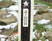 Pet Grave Marker Memorial Headstone Tombstone / custom handcrafted ceramic burial marker for all pets / black and cream colored