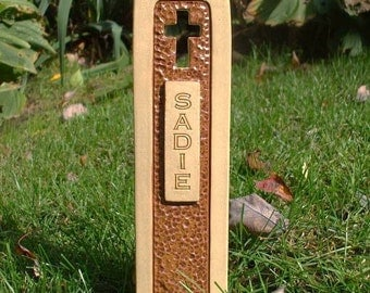 Pet Grave Marker Memorial Headstone Tombstone / custom handcrafted ceramic burial marker for all pets / brown and tan colored