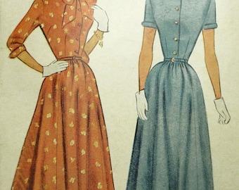 Cute 1948 Retro SHIRTWAIST  DRESS  McCall 7402 Vintage Pattern