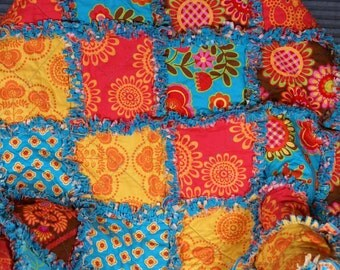 Rag Quilt Colorful 52 x 65 Rag Quilt Decorative Throw Ready to Ship