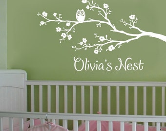 Nursery Wall Decal, Cherry Branch Wall Decal, Nursery Decal, Personalized Wall Decal, Owl Wall Decal