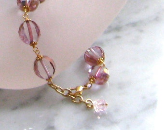 Pink Ballerina Czech Glass Bracelet in round or tapered beads with Gold fire polish