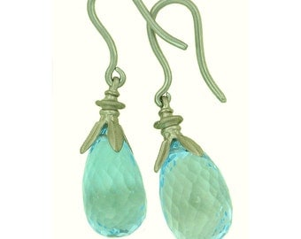 18k white gold blue topaz drop earrings using 100 percent recycled gold MADE TO ORDER