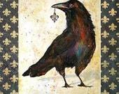 "Raven Crow Art Print Handmade Fleur de Lis Mat 11x14"" Signed and Numbered"