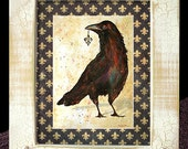 "Fleur de Lis Crow Art Framed Distressed/Matted ""Finders/Keepers"" Signed and Numbered"