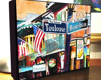 """New Orleans French Quarter Signs Mardi Gras Art Canvas Print On 8x10x1.5"""" and 11x14x1.5"""" Gallery Wrap Canvas"""