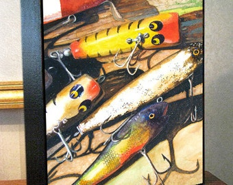 "Fishing Lure Art 8x10x1.5"" and 11x14x1.5"" Gallery Wrap Canvas Print Signed and Numbered"