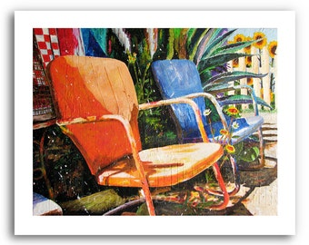 "Metal Lawn Chairs Art ""Relax"" Prints Signed and Numbered"