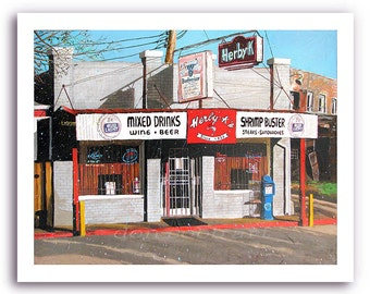 Shreveport Herby-K's Seafood Restaurant Cafe Diner Bar and Grill Art Prints Signed Numbered