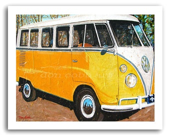 """VW Volkswagen Bus Art - Hippie Bus - """"Mellow Yellow"""" Prints Signed and Numbered"""