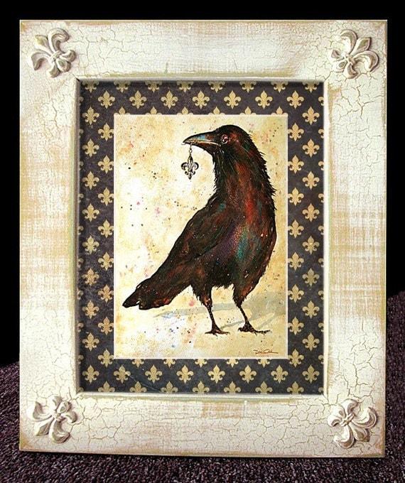 Fleur De Lis Crow Art Framed Distressed Matted