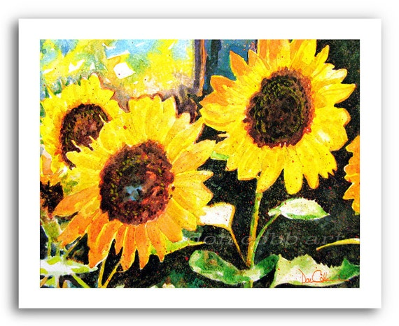 """Sunflower Art Print 11x14"""" and 13x19"""" """"Red River Sunflowers"""" Signed Numbered"""