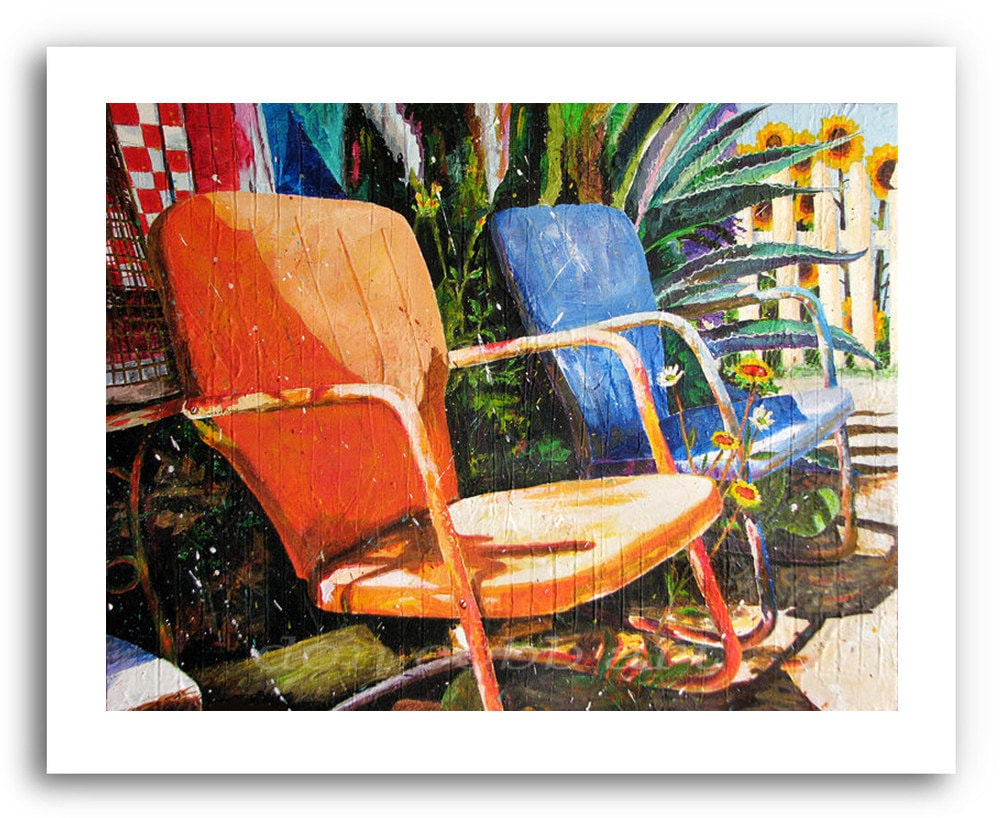 Metal Lawn Chairs Art Relax Prints Signed And