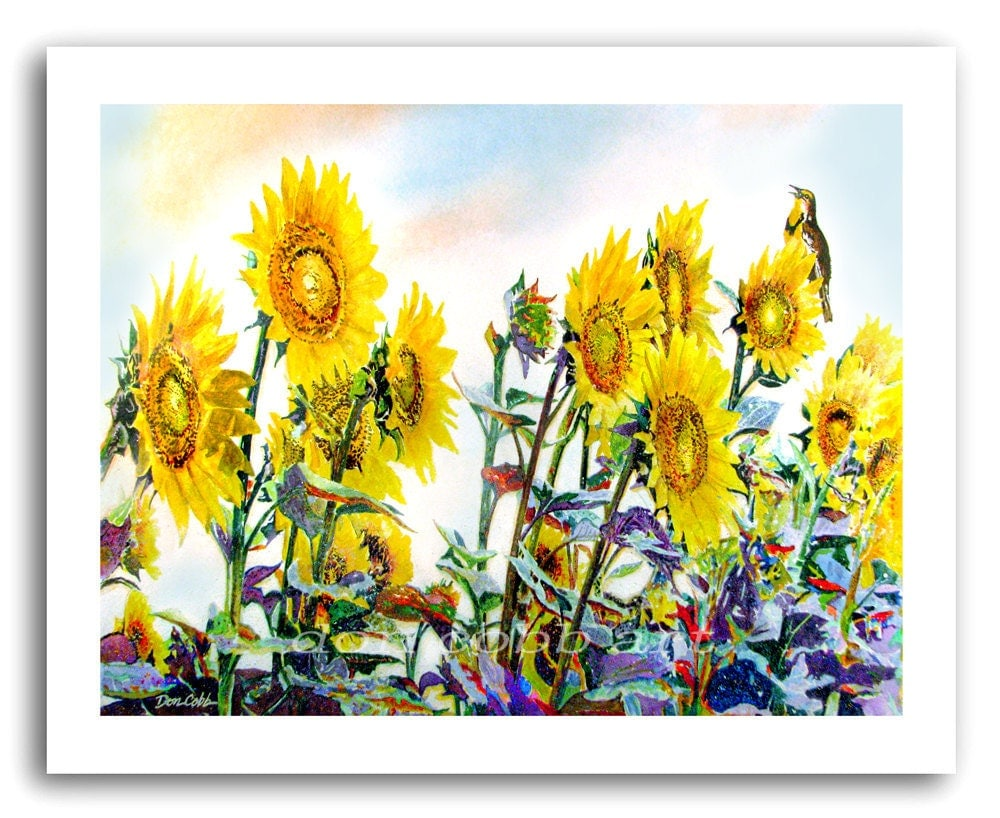 Sunflower Art Sunflower Lark Prints Signed And