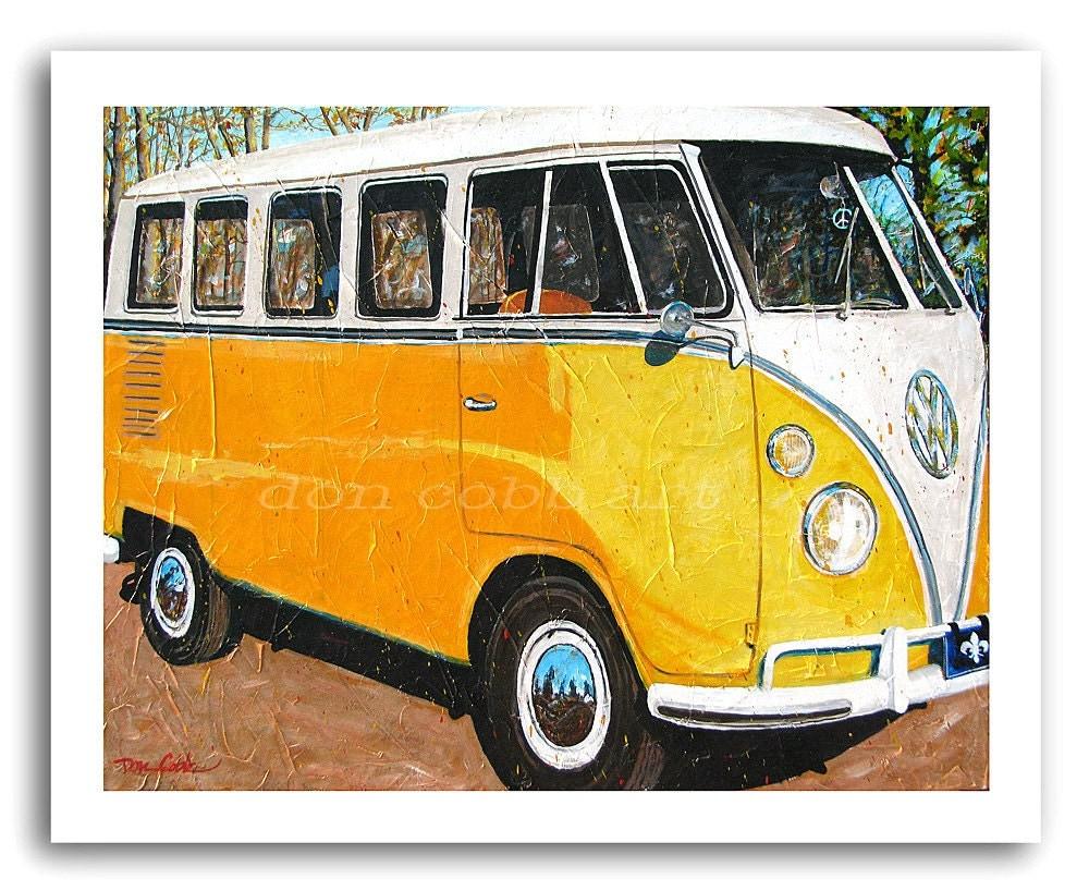 vw volkswagen bus art hippie bus mellow yellow. Black Bedroom Furniture Sets. Home Design Ideas