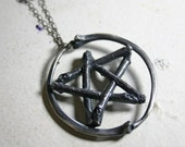Snake rib and twig. Lily Dale pentacle necklace.