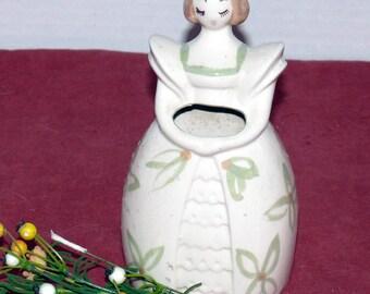 Lady Wall Pocket - 1940's California BLOCK Pottery - Lady with Flowers  -Block Pottery Company