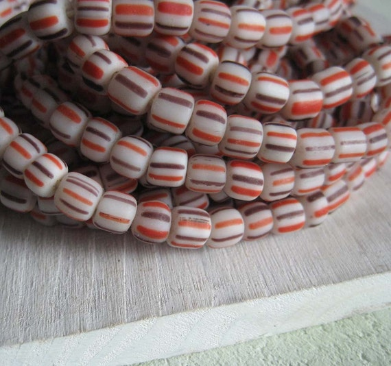 matte striped seed beads small opaque white glass beads barrel  tube  ethnic boho Modern Indo-pacific - 3 to 5mm/ 22 in  strand  -  2bgl17s