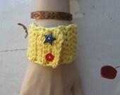 "CUFF BRACELET NAUTICAL Pin Up Yellow Cotton Crochet ""Sailor Girl"""