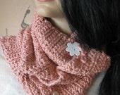 "COWL SCARF PINK Crochet Organic Cotton ""Strawberry Blossom"""