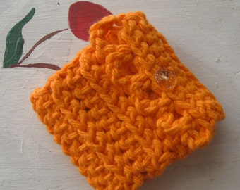 NEEDLE BOOK TRAVEL Case Sewing Beading Embroidery Bright Orange Crochet Cotton