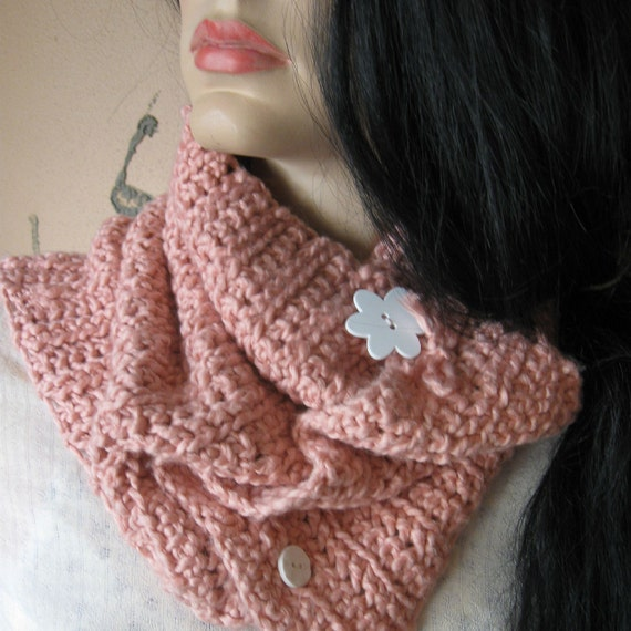 "COWL SCARF PINK Crochet Organic Cotton ""Strawberry Blossom"""