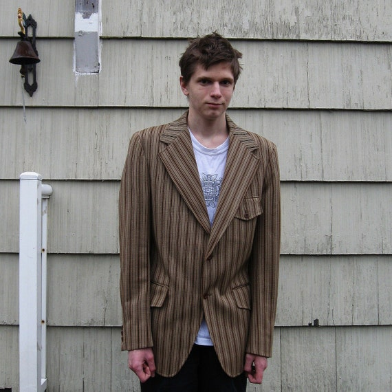 JACKET MENS MOD Style Vintage Leisure Suit Striped Rockabilly Steampunk