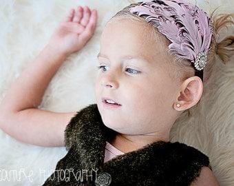 Baby Headbands, Pink Headbands, Curled Feather, Nagorie, Pink Black Feather, Baby Girls Headbands, Newborn Photo, Smash Cake Prop, Birthday