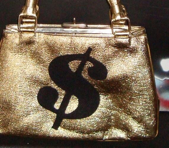 Money Bag ... ReVamped Vintage Gold Purse with Black Felt Dollar Sign
