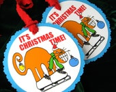 So Much Fun Jumbo Gift Tags Orange Cat With Christmas Ornaments Hanging On His Body Set Of Three