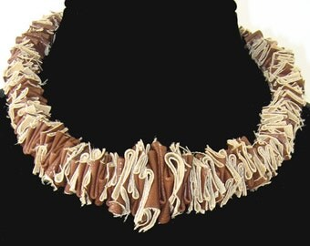 Vinyl Necklace,  Brown and Tan Necklace,Fiber Necklace, Choker Necklace, Statement Necklace,Necklace in Vinyl, Jewelry, Square Necklace