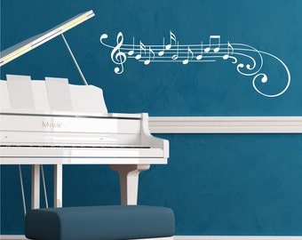 Wall Quote Decal Music Staff Treble Clef Notes Piano Musical Instrument Vinyl Wall Art Decal