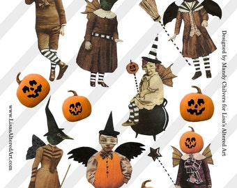 Digital Collage Sheet Vintage Halloween Images By Amazing Artist Mandy Chilvers (Sheet no.H20) Instant Download