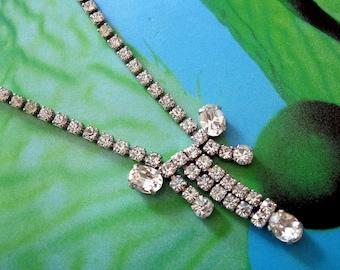 Vintage Rhinestone Necklace Crystal Silvertone