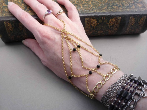 Gold tone chain Handflower Slave Bracelet Black Onyx beads Ring bracelet Hand jewelry jewellery Hath Panja adjustable wrist Indie Hipster