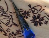 Kobold . Swarovski Crystal Prism Divination Pendulum Necklace . Bronze or Silver Filigree Pendant . 30 inch