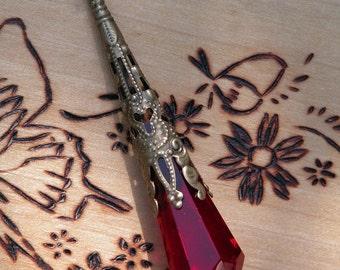 Scarlet Crystal Prism Divination Pendulum Necklace . Bronze or Silver Filigree Pendant . 30 inch