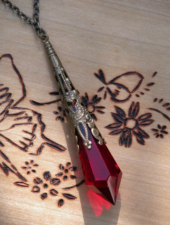 Scarlet . Swarovski Crystal Magickal Prism Divination Pendulum Necklace . Bronze or Silver Filigree Pendant . 30 inch