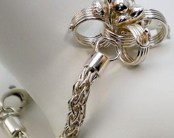 Fine Silver Bracelet - Handmade Chain and Sterling Silver Flower - Anniversary - Fox Tail Chain - One Of A Kind