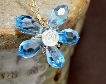 Blue Dainty Crystal Flower Pendant Wire Wrapped in 14k Gold Filled Wire; Handmade Simple Conservative Ooak Necklace; Workplace Jewelry
