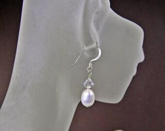 White Pearls and Crystal Earrings Handmade - Dangle -  Anniversary - Bridesmaids earrings- Weddings - Birthday - Under 20 Dollars