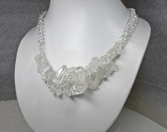 Wire Crochet Rock Crystal Quartz Statement Necklace Handmade - Clubbing - Trendy - Birthday - Mineral