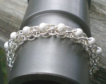 Sterling Silver And Stardust Beads Chain Bracelet - Hand Made - Chainmaille - Anniversary