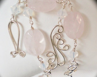 Rose Quartz and Crystal Filigree Y-Drop Necklace - Delicate - Birthday - Anniversary