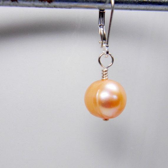 Interchangeable Earrings Dangles - Pink Freshwater Pearls Sterling Silver - June Birthday- Buy Three Receive Free Ear Wire